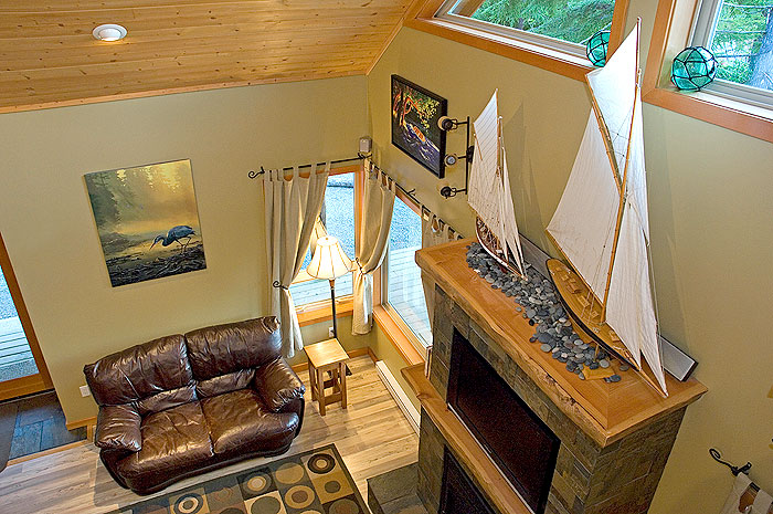Tofino Vacation House Rental Tranquil Accommodations Photo Slideshow Photos Of Living Room Stone Fireplace With TV Gourmet Kitchen